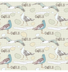 Vintage Seagulls Pattern Background vector image vector image