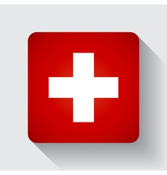 Web button with flag of Switzerland vector image vector image