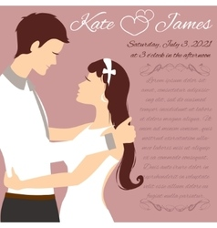 Wedding couple for invitation card vector image vector image