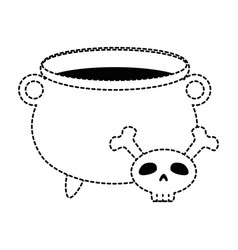 witch boiler with skull vector image