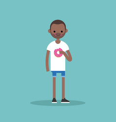 Young black man chewing a strawberry donut flat vector
