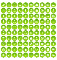 100 birthday icons set green circle vector