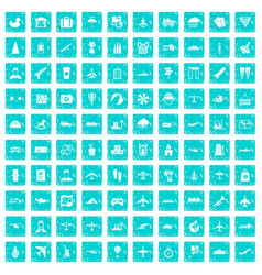 100 plane icons set grunge blue vector