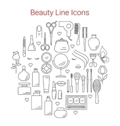 Beauty cosmetic and makeup line icons set vector