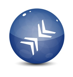 Blue Icon with Arrows vector image