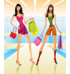 Shopping girls in the mall vector