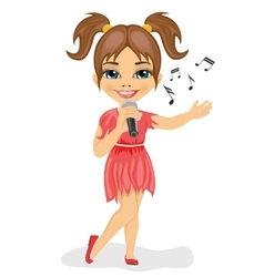 Cute little girl with microphone sings song vector