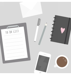 Things on the table To do list mobile phone etc vector image