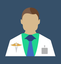 male doctor medical object flat icon vector image