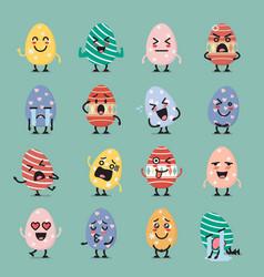 Easter egg character emoji set vector