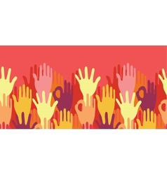 Hands in the crowd horizontal seamless pattern vector image