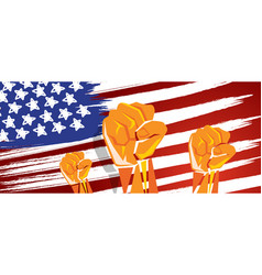 Usa america independence hand fist in with flag vector
