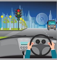 Human hands driving a car on asphalt road and vector
