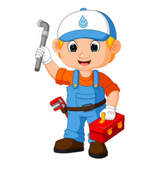 cartoon cute plumber boy vector image
