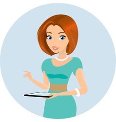 Young sensual pretty woman holds a tablet pc in vector