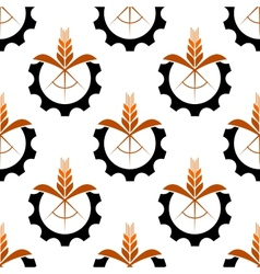 Wheat stalk and gear wheel seamless pattern vector