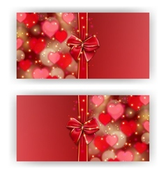 Festive background with hearts bokeh vector