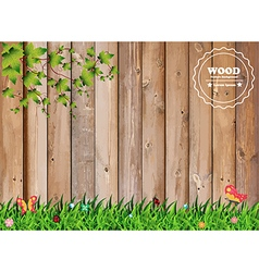 Fresh spring green grass with leaf plant over wood vector image