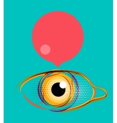 Abstract poster stylized eye with empty speech vector