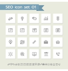 Seo icons set 1 simple flat buttons vector