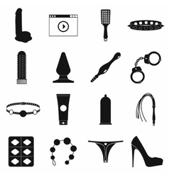 Sex shop icons set simple style vector