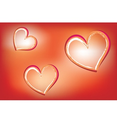 Hearts on luminous background vector