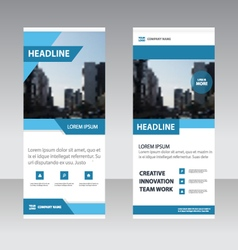Blue simple business roll up banner templates set vector