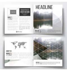 Set of square design brochure template colorful vector