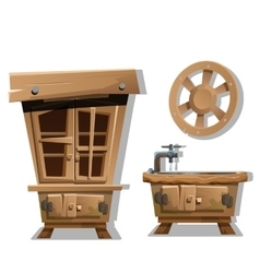 Kitchen interior furniture in wild west style vector