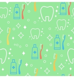 Seamless pattern with teeth an toothbrushes vector