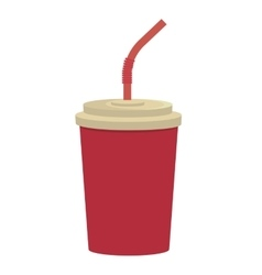 Red cup and straw graphic vector