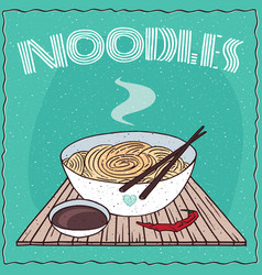 Asian noodles ramen or udon in bowl vector