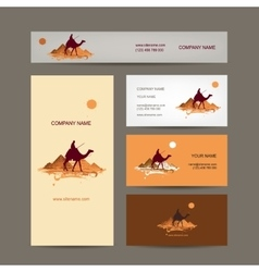 Business cards design traveling by camel at vector