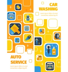 Car wash service vertical flat banners vector
