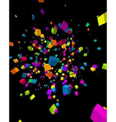 Colorful cubes burst background vector