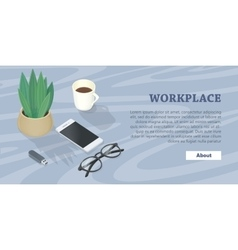 Desk with mobile phone glasses plant flash drive vector