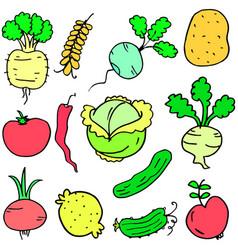 Doodle of vegetable various set design cartoon vector