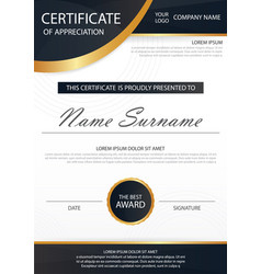 elegance horizontal certificate with vector image