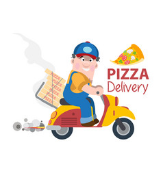fast delivery pizza on a moped vector image vector image