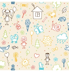 Hand drawn children drawings seamless pattern vector