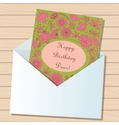 Happy birthday dear card in envelope on wooden vector