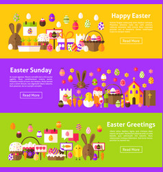 Happy easter web horizontal banners vector