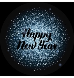 Happy new year lettering over silver vector