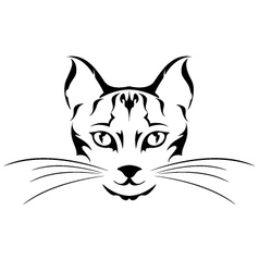 head cat tattoo vector image vector image
