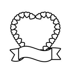 Heart ribbon decorative icon outline vector
