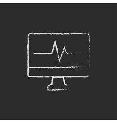 Heartbeat display on monitor drawn in chalk vector