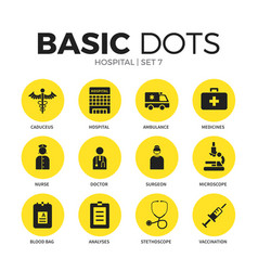 hospital flat icons set vector image vector image