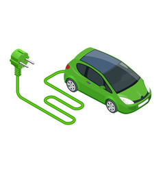 isometric electric car in refill electric vector image vector image