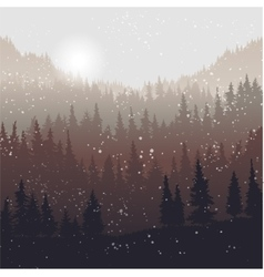 landscape with fir trees and snow vector image