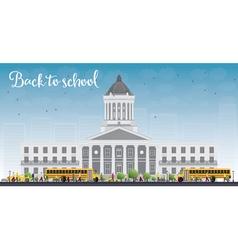 Landscape with school bus school building vector image